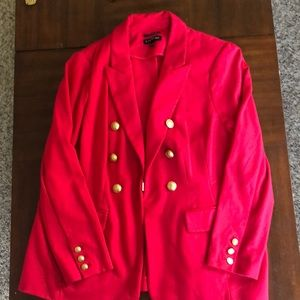Red Lane Bryant Blazer with gold button details